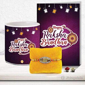 Rakshabandhan Pack of Designer Rakhi, Printed Ceramic Coffee Mug, Happy Raksha Bandhan Design Greeting Card, Roli Chawal for Brother