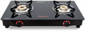 Butterfly Smart Glass 2 Burner Gas Stove, Black