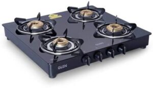 Glen 4 Burner Gas Stove 1043 GT Brass Burner Black Cooktop