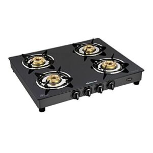 Sunflame GT Pride Glass Top 4 Brass Burner Gas Stove (Manual Ignition, Black)